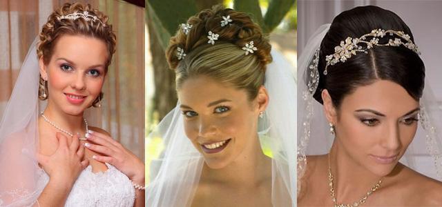 прически свадебные на средний и длинны