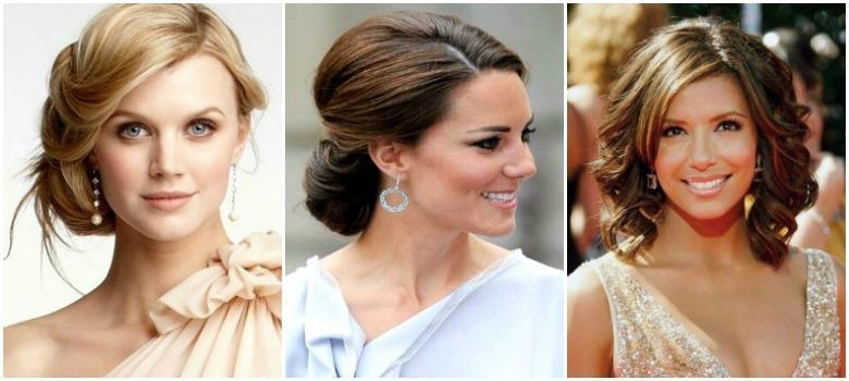 Причёски на свадьбу для средних волос для гостей фото