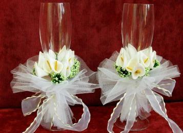 Свадебные бокалы оформленные своими руками