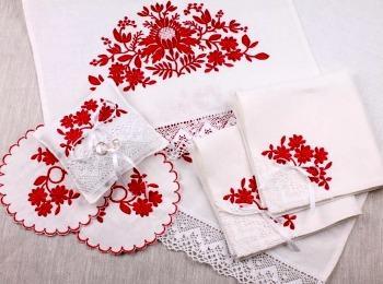 Свадебный венчальный набор с вышивкой