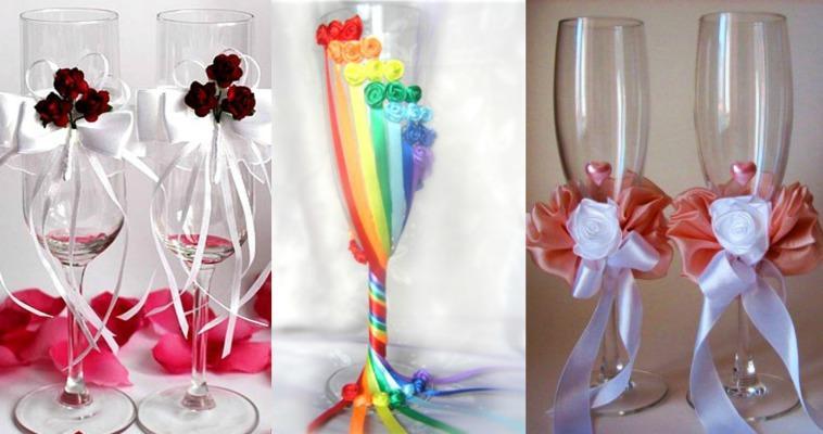 Атласные ленты для декора атрибутов свадьбы