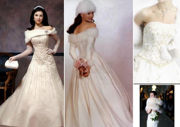 Зимние платья для невесты с мехом