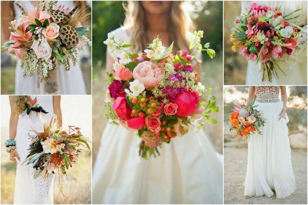 Разные сочетания из цветов в букете невесты