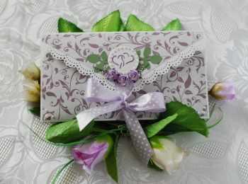 Красивый свадебный конверт для денег