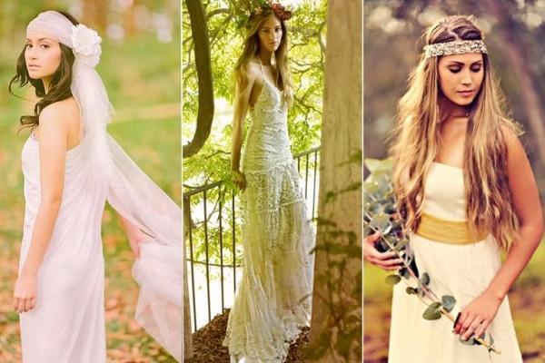 Три вида свадебных платьев  нежных пастельных оттенков, характерных для стиля бохо