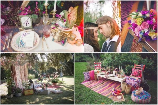 Пример украшения стола и окружающего пространства для тематической свадьбы