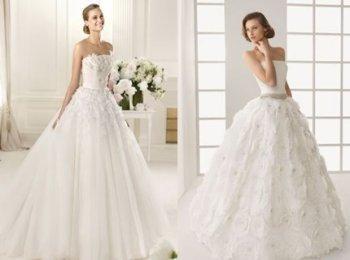 Два варианта красивых свадебных платьев в пол с открытыми плечами