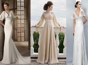 Три вида нежных платьев ампир для невесты