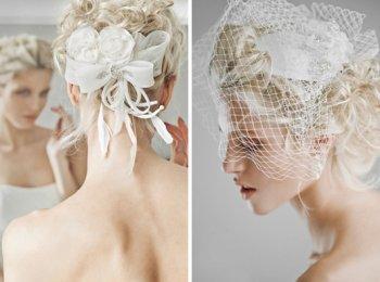 Украшения для волос невесте - искусственные цветы и шляпка