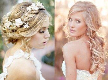 Варианты свадебных причесок с убранными и распущенными волосами