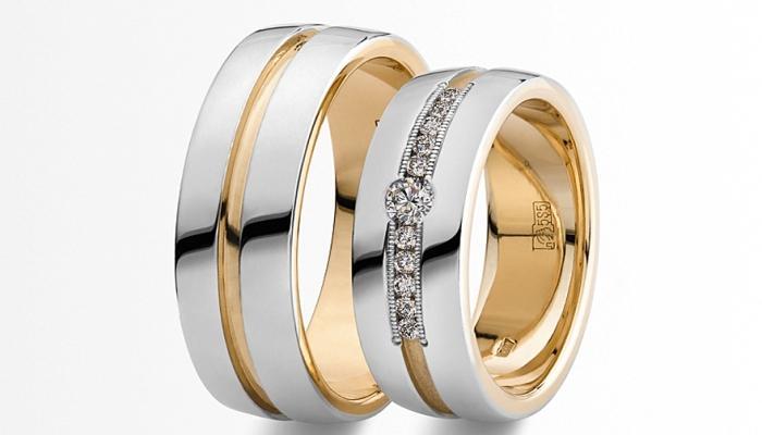 Парные кольца из белого и желтого золота с бриллиантовыми вставками