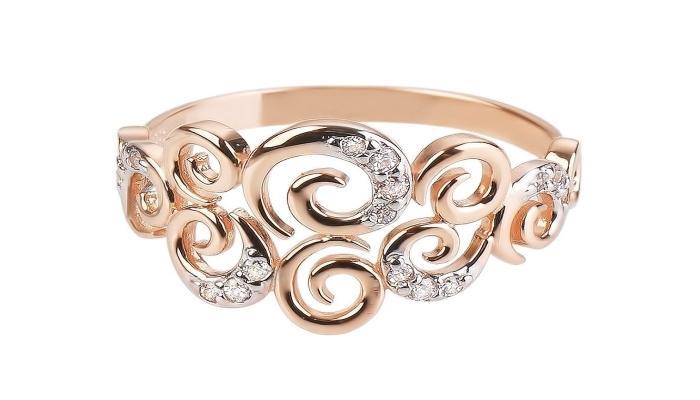 Ажурное кольцо, инкрустированное девятью небольшими бриллиантами