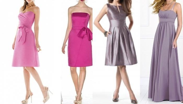 Розовые и серо-перламутровые платья для девушек с фигурой песочные часы