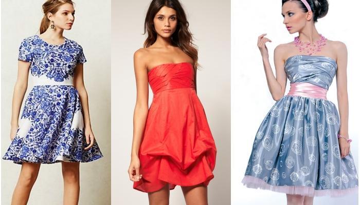 Игривые яркие платья выше колен с элементами ретро