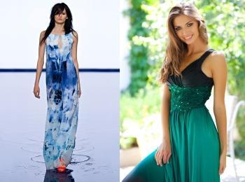Сине-голубое и насыщенно зеленое платья для гостей на свадьбе в тематическом зимнем и летнем стилях