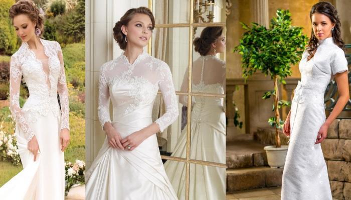 Варианты греческих свадебных платьев с воротником и кружевным верхом