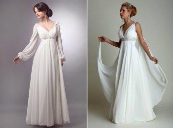 Варианты платьев в стиле ампир, схожих по стилю с нарядами в Древнем Риме и Греции