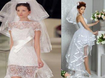 Платья от Шанель короткой длины с фатой сделали белые платья самыми популярными для свадеб