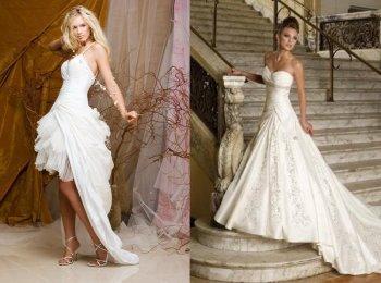 Современные платья невест не ограничены по фасонам, длине и расцветкам