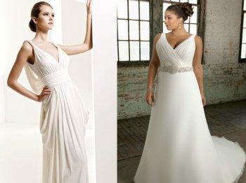 Свадебное платье для худенькой и полной девушек в стиле ампир