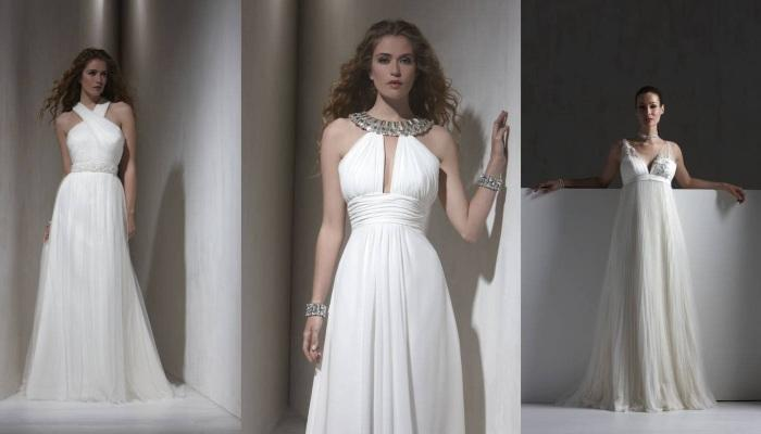 Три вида длдинных свадебных платьев в греческом стиле