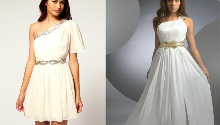 Короткое и длинное платья с одним плечом и завышенной с помощью пояса талией