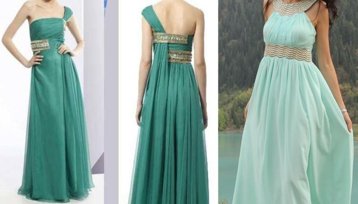 Цветные - светло и темно-бирюзовое - длинные платья с золотой вышивкой