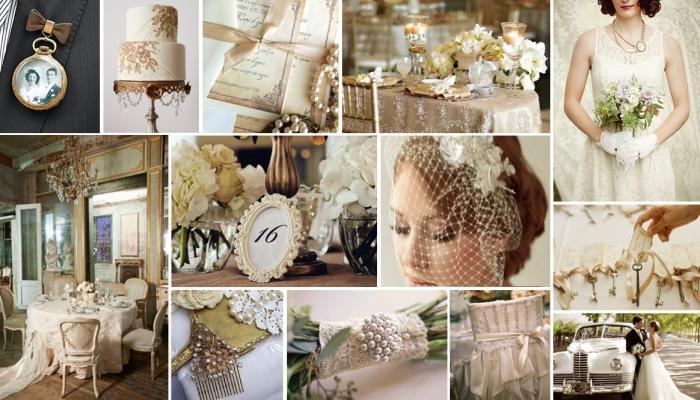 Красивые украшения зала для винтажной свадьбы