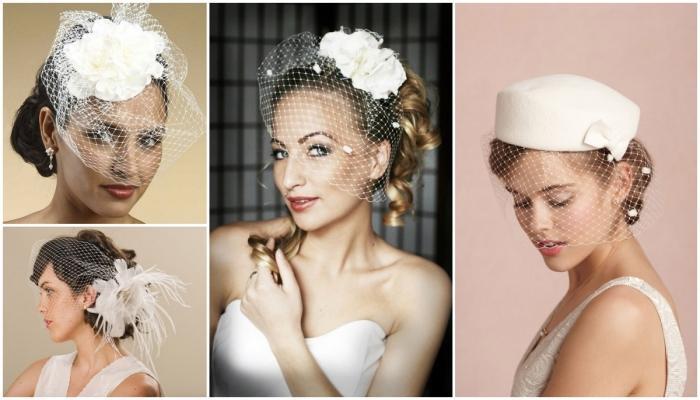 Плоские шляпки, крупные цветы и короткая вуаль - отличное дополнение к образу ретро-невесты