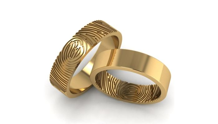 Оригинальные кольца для новобрачных с отпечатками пальцев