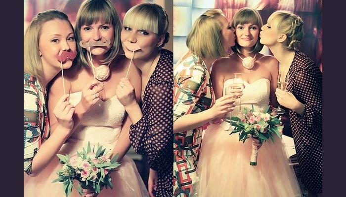 Невеста с подружками и изящным крупным украшением на шее