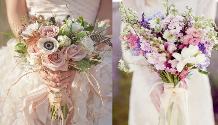 Красивые букеты невесты в пастельных оттенках