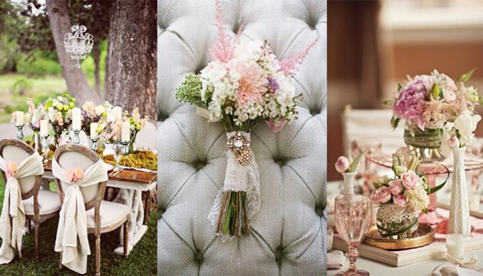 Варианты украшения свадьбы - все в пастельных тонах с винтажным уклоном