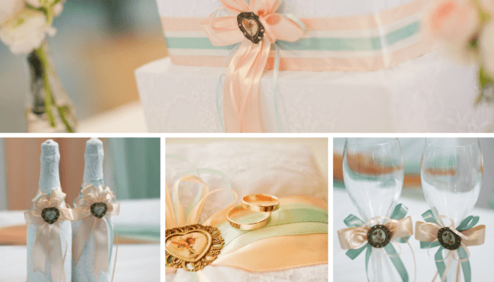 Варианты оформления свадьбы в персиково-мятных оттенках