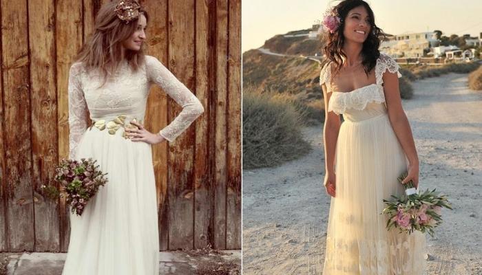 Платья с рукавами и без для невесты в этом стиле