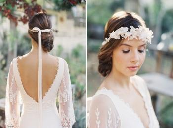Нежная невеста с ленточным венком - фото спереди и сзади