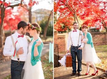 Яркие образы жениха и невесты - идеально для осени