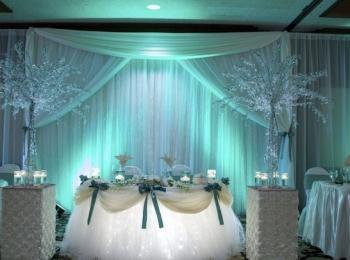 Если свадьба проводится в зале ресторана или иного крытого заведения, оформление начинается с подбора правильных декораций