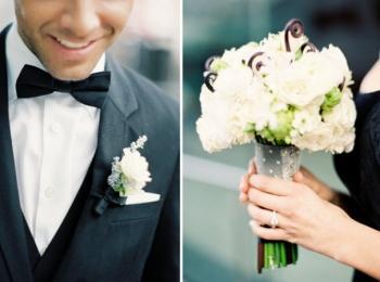Свадебный букет невесты и бутоньерка жениха должны быть гармонирующими