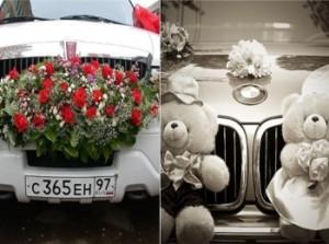 Варианты украшения машины на свадьбу - цветы и мягкие игрушки