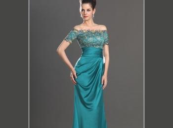 Вариант изящного вечернего платья для стройной мамы невесты