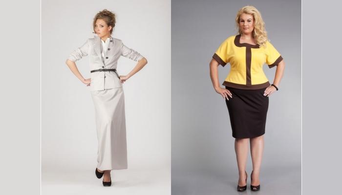Полным женщинам на празднество дочери стоит выбрать костюм с прямой юбкой или годе