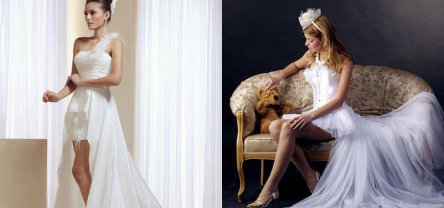 Шикарный шлейф у короткого свадебного платья