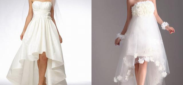 Свадебное платье спереди короткое и длинное сзади