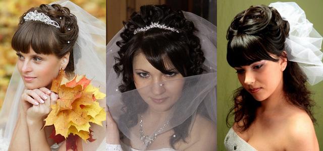 Причёска на свадьбу на средние волосы без челки фото