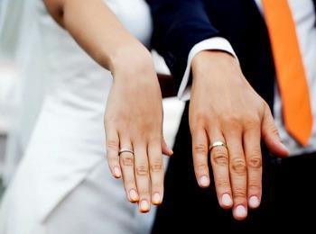Молодожены после бракосочетания