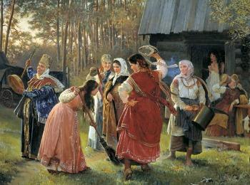 Сваха проверяет хорошая ли хозяйка невеста