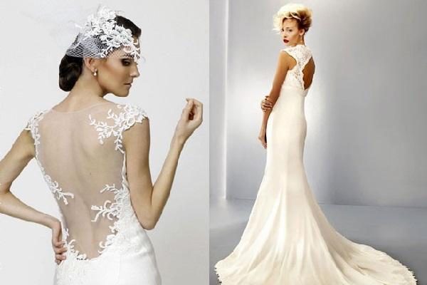 Кружева на спине наряда невесты