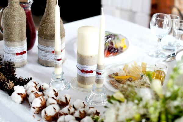 Стол на свадебном торжестве в рустикальном стиле