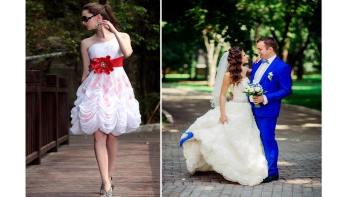 Подходящие платья для невесты и синий костюм для жениха
